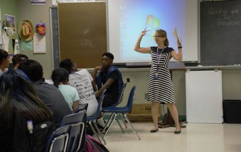 French teacher Maria Goebert instructs her class on important concepts before students take one of their first quizzes