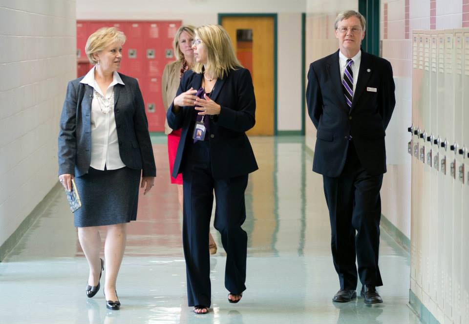 Dr. Karen Garza (left) visits Chantilly on the first day of the 2013-2014 school year.