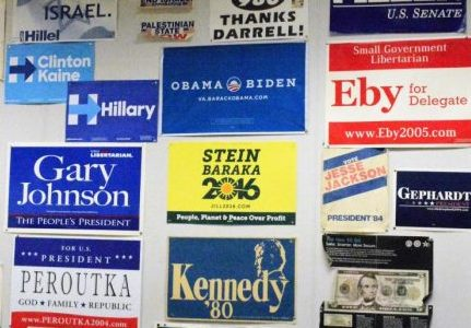 Social Studies teacher Joe Clement displays a wide variety of political campaign signs in order to promote a balanced discussion of politics in the classroom.