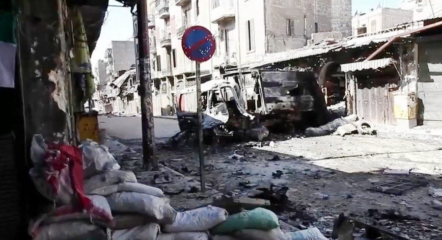 In+Aleppo%2C+Syria%2C+many+decimated+streets+can+be+seen+as+the+state+of+war-torn+Syria+declines.