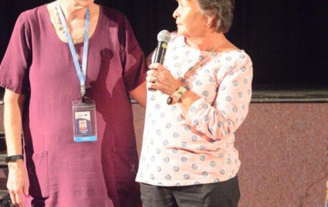 Debbie Santmyer, right, a retired Chantilly administrator, joined many staff members in thanking KT Lynch, left, at the most recent faculty meeting. Lynch has been a Chantilly administrator for 18 years and retired Friday, Sept. 29.