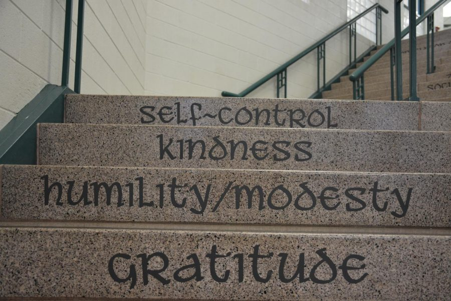 New labels on the main stairs remind students of the 24 character strengths.