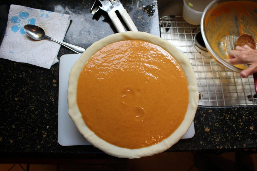 After the pie bakes for one hour and emerges from the oven, the pumpkin-pecan treat is cooled before it is served.