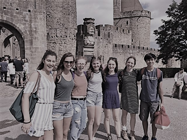 Alumni Vienna Husson, senior Sophie Chehab, juniors Gen Pietrak, Faith Foster, Pierce, Snarr and sophomore Richard Adams visit Carcassonne, France.