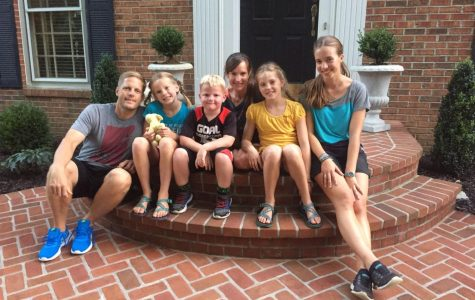 Junior Anna Eckert, right, is pictured with her host family, who she will live with for her 10-month stay.