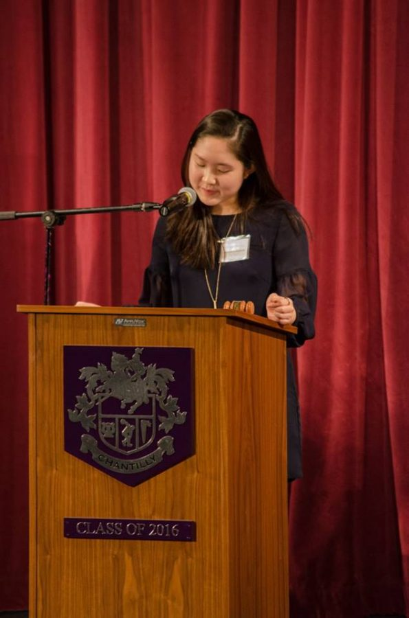 Senior and Secretary General Jennifer Cheung welcomed participants to Chantilly's annual Model UN conference last year.