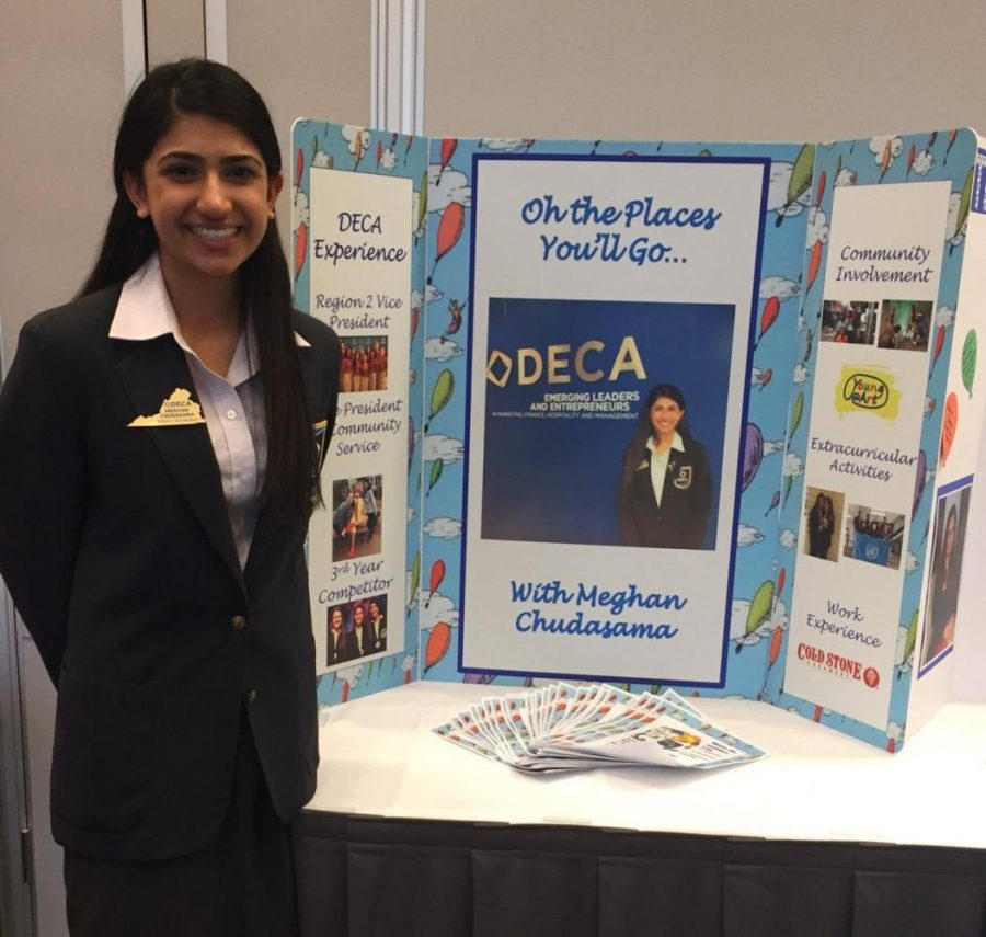 Senior+Meghan+Chudasama+ran+for+Virginia++DECA+Historian+last+March%2C+and+created+a+poster+displaying+her+DECA+experience.