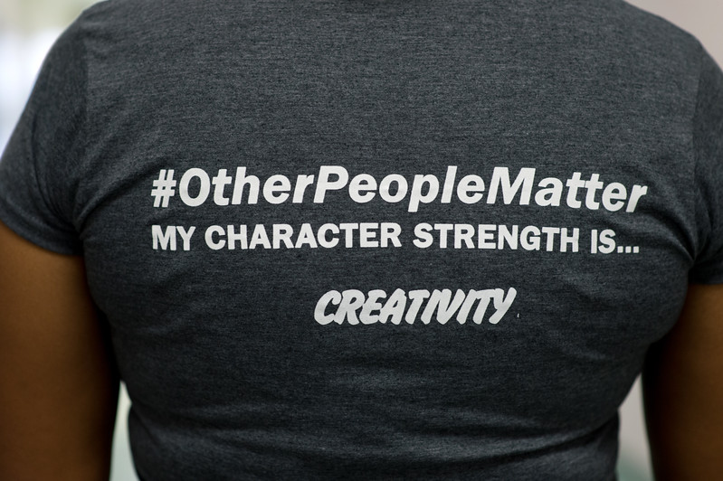 Through the P2 character strength survey, English teacher Danielle Hicks, pictured here wearing her P2 shirt, learned that her dominant character trait is creativity.