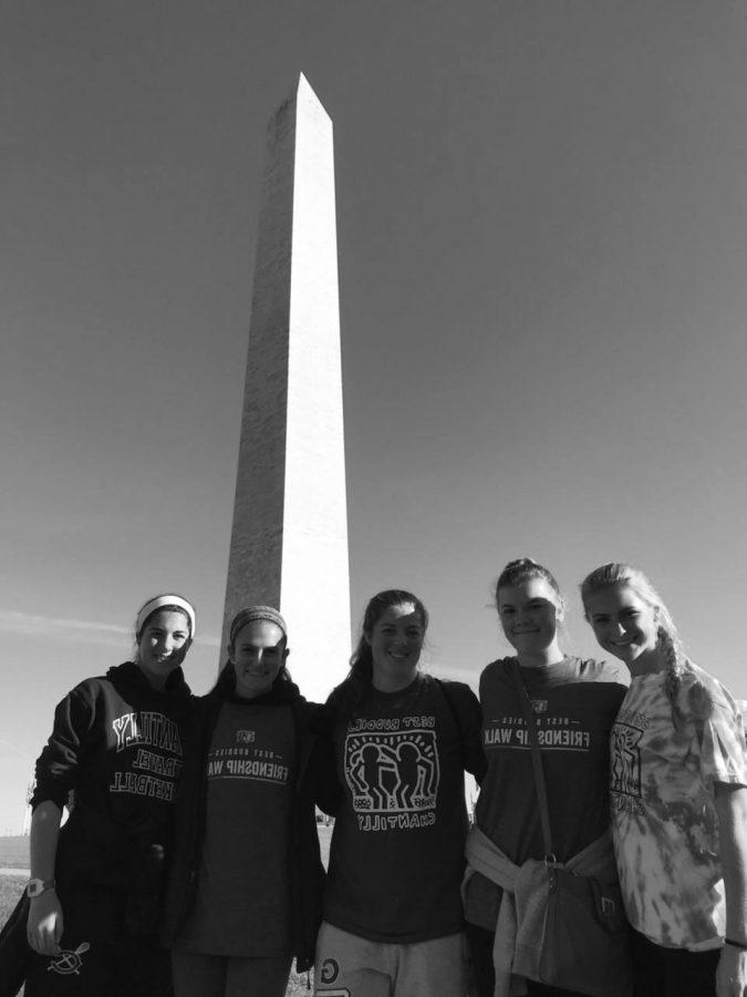 Seniors+Noelle+Hagy%2C+Amara+Novotny%2C+Kaylin+Fitzgerald%2C+Alex+Ciccone%2C+Megan+Connell+at+the+Washington+Monument+during+the+Friendship+Walk+2017.%0A%0A