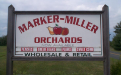 The opening sign at Marker-Miller Orchards in Winchester, Va.