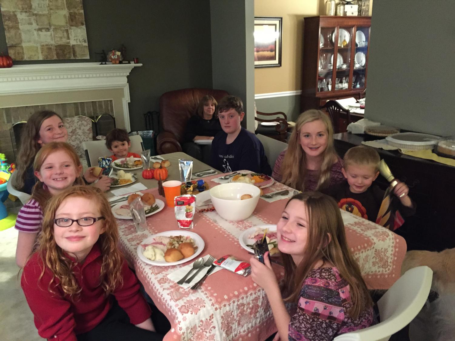 Yearbook adviser Mary Kay Downes celebrates Thanksgiving with her grandchildren.