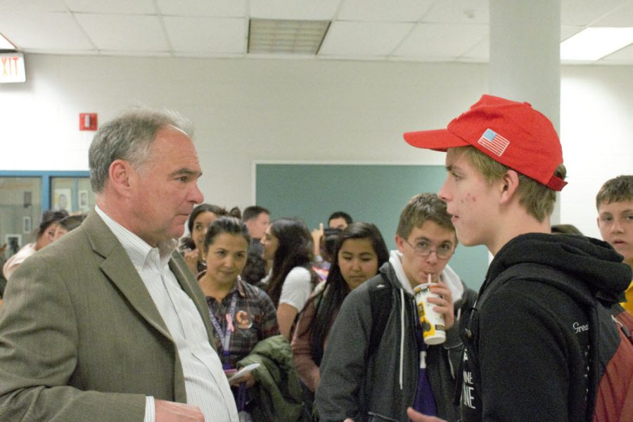 Senator+Tim+Kaine+listens+to+a+student%27s+concerns+while+visiting+Chantilly+to+speak+and+connect+with+the+school+community.