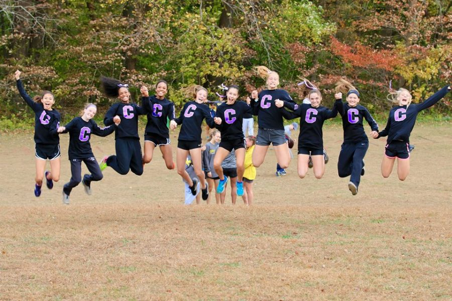 Varsity+cross+country+girls+jump+for+joy+following+their+advancement+to+state+championships+after+placing+third+in+the+region.