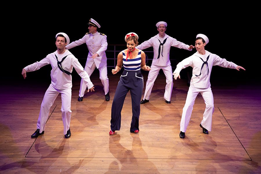 Anything Goes cast members tap dance during a performance of the title song, Anything Goes. A night out at a local theater such as Arena Stage can provide students with a unique experience.