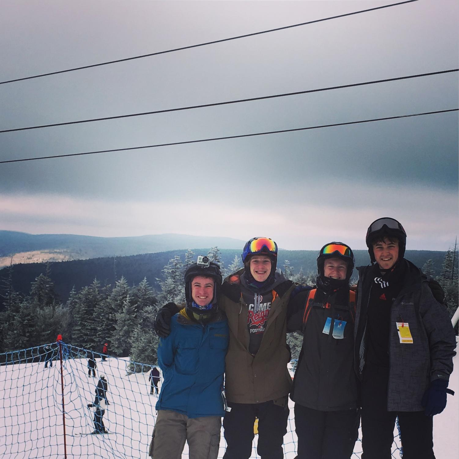 Seniors+Kyle+Gallagher%2C+Connor+Pennell%2C+Zack+Carter+and+Dylan+Lee+enjoy+their+annual+winter+break+skiing+trip+at+Snowshoe+Mountain+in+West+Virginia.