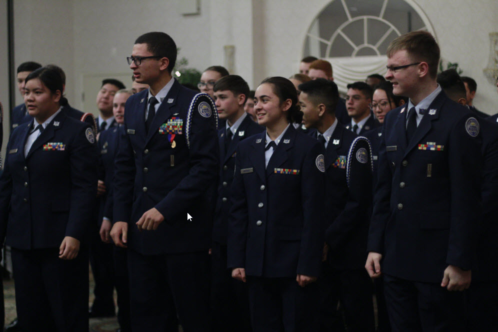 After the formal dinner at the Waterford Fair Oaks, cadets line up and are presented with awards based on their performance during the first semester. Those with leadership positions are recognized and honored, and new cadets assume their positions for the future.