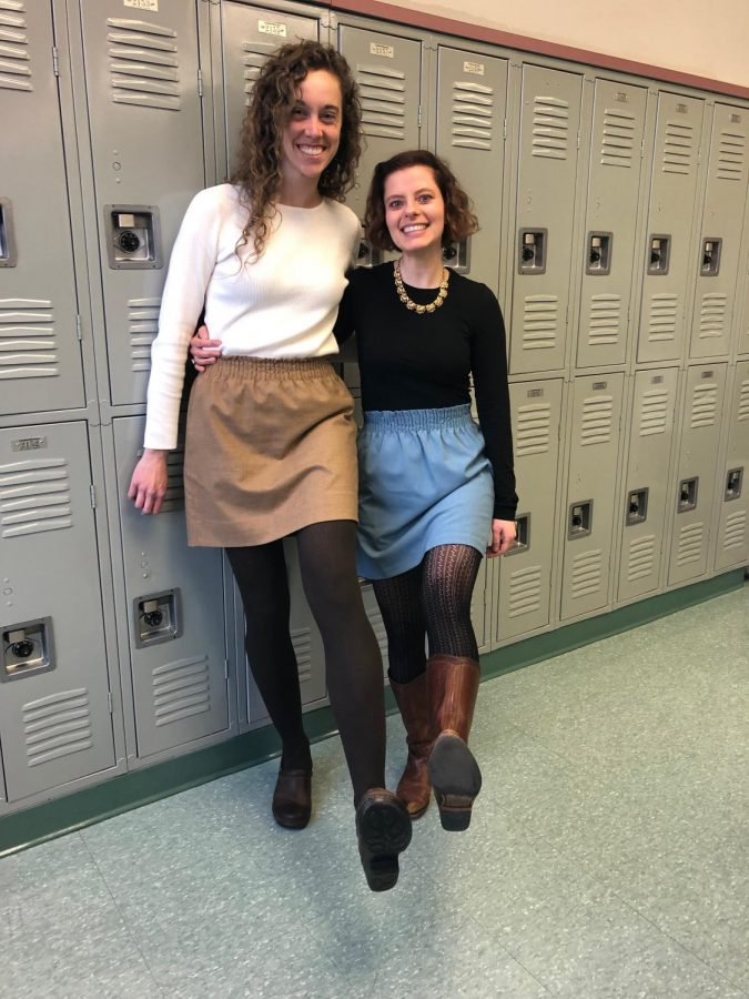English+teachers+Julianne+Abruzzo+and+Molli+Atallah+show+off+their+matching+outfits+after+school.+The+teachers+co-sponsor+the+literary+arts+magazine+and+have+formed+a+tight+bond.