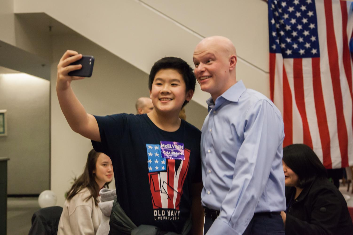 FCPS Board Member Ryan McElveen poses while taking a selfie with a student during his kickoff party. The event gave McElveen the opportunity to get to know his supporters and families from the community better.