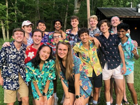 The cross country team's senior class wears Hawaiian shirts at their annual cross country camp as a bonding activity. Besides the coordinated outfits, bonfires, ping pong tournaments and ice cream socials were also utilized in order to try to bring the team closer together.