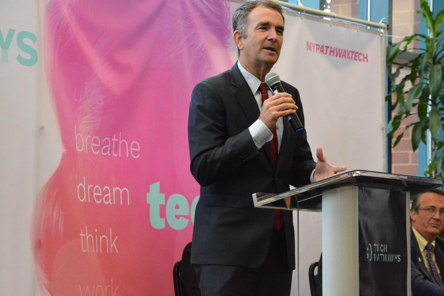 Governor Ralph Northam visited Chantilly to speak about expanding tech skills to the youth and strengthening STEM in Virginia. He promoted the Tech Pathways program, which is designed to encourage students to consider tech-related jobs.