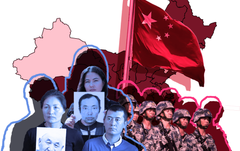 graphic collage of uighurs and chinese military