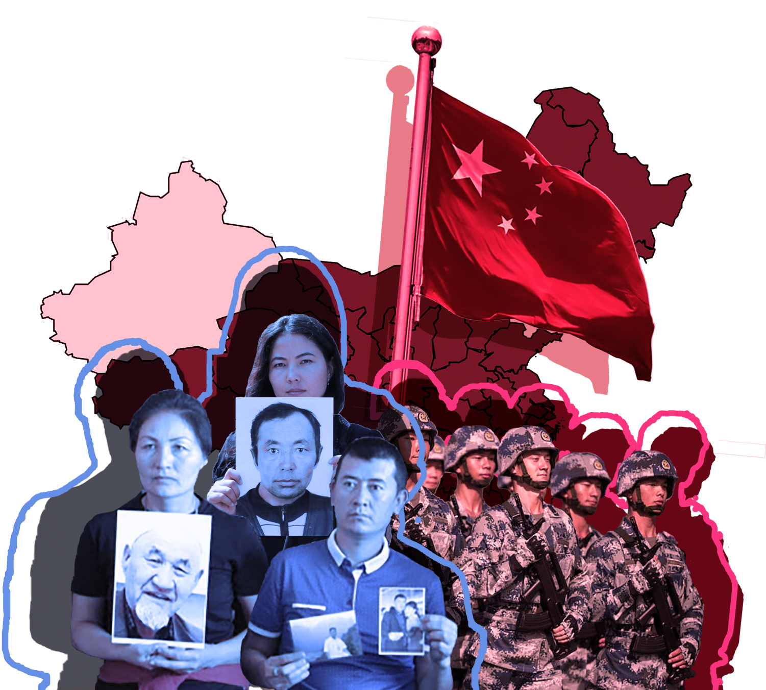 This graphic depicts various Uighurs holding up relatives that have either been killed or missing in detainment camps. To the right, Chinese officials are marching with the flag of China. All figures form the outline of Xinjiang, the region in which the highest number of camps run.