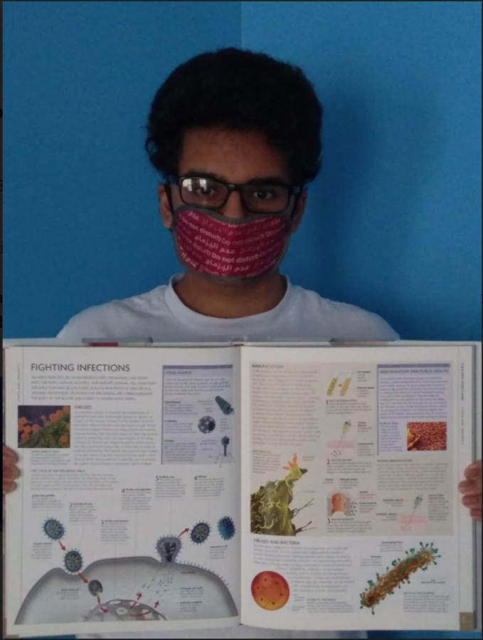 During quarantine, I've been doing some side reading about fighting infections. I'm wearing a sleep mask over my nose and mouth because we weren't able to buy actual masks. Please excuse my quarantine hair.