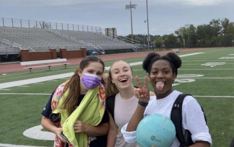 Junior Kiera Davenport finishes a conditioning session with the volleyball team on the field as a safety precaution on September 24. Working out together is a way of keeping everyone in shape and active so they can jump right into the season.