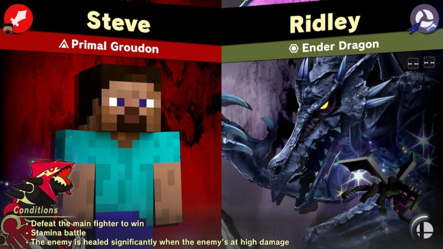 Steve from Minecraft facing off against the Ender Dragon Spirit in Super Smash Bros. Ultimate.