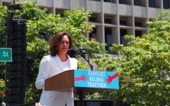 Vice-president Kamala Harris speaks to a crowd at a Families Belong Together march in California.