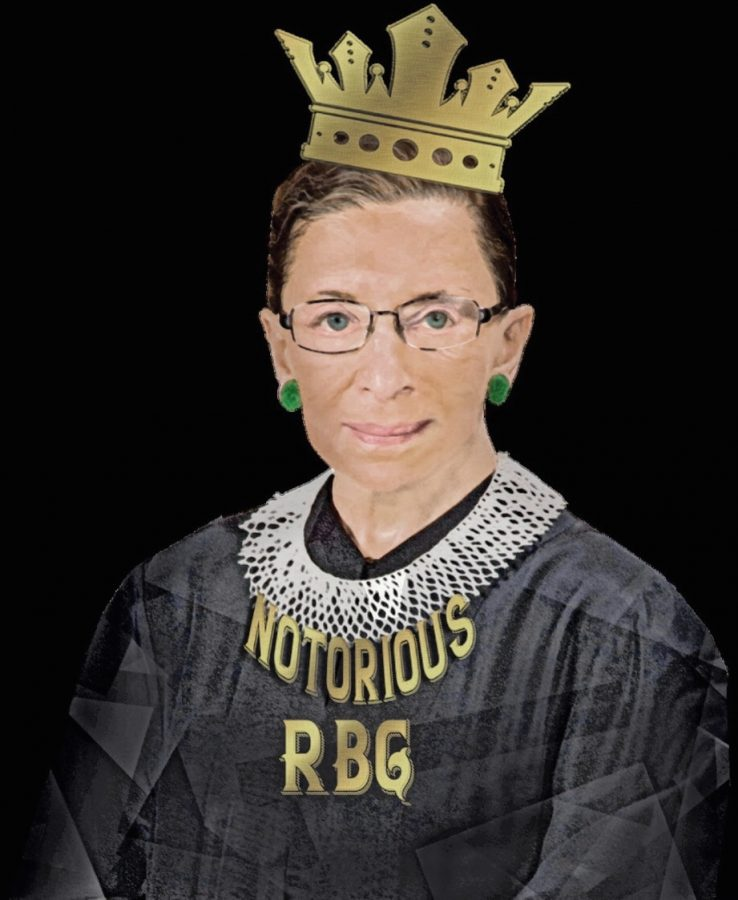 "Ruth Bader Ginsberg with a crown on her head and the words ""notorious"" on her judge outfit despite her controversial attributions in politics. Illustration by uploader from Pixabay Annalise Batista."