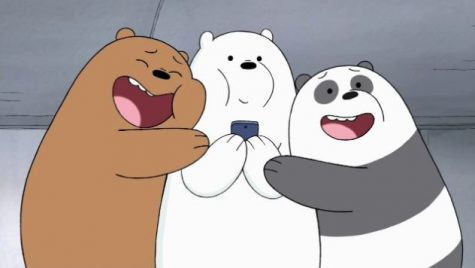 "In the episode ""Subway,"" Grizzly (Eric Edelstein), Ice Bear (Demetri Martin) and Panda (Bobby Moynihan) rejoice after retrieving their phone that was lost on the track."