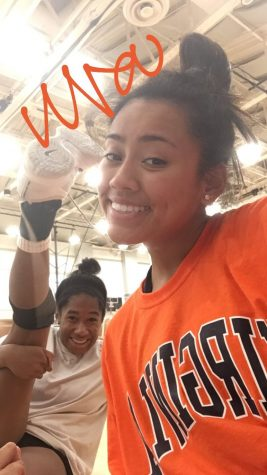Senior Adriana Barrera poses with Lauren Turner at the University of Virginia volleyball camp in 2018.