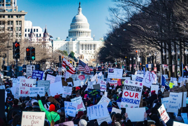 Trump supporters march to the Capitol in protest of the election results on Jan. 6, 2021.