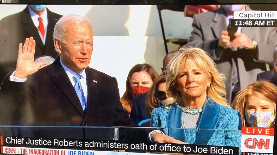 President Joe Biden, alongside First Lady Dr. Jill Biden, gets sworn in on Jan 20. at Capitol Hill