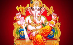 This is the Hindu God Ganesh. He is represents the god of wisdom.