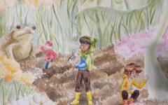 Junior Morgan Lee creates art work using colored pencils.