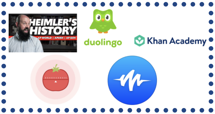 Icons of Apps and resources that help with school. Apps/resources included are Heimler's History, Duolingo, Khan Academy, Pomodoro, and Speechify.