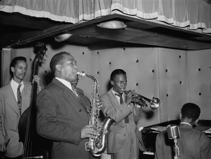 Jazz musicians Thomas Potter, Charlie Parker, Max Roach, Miles Davis and Duke Jordan play their respective instruments in New York in Aug. 1947.