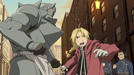 Brothers Edward and Alphonse Elric fight an alchemist in Fullmetal Alchemist: Brotherhood