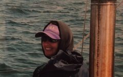 Science teacher Michele Gates on a sailboat in the Bay of Fundy in 2010.