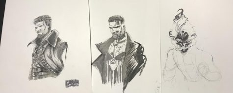 Drawings done by Axelrod of Marvel Characters, (L-R) Doctor Strange, The Punisher, Ghost Rider