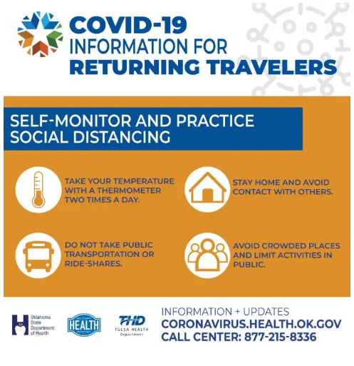 Families traveling over spring break should follow the recommended guidelines when returning home.