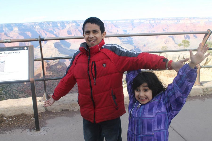 On a family trip to the Grand Canyon in 2013, freshman Diya Kohli and her brother share their excitement. Photo used with permission of Diya Kohli.