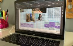 Photo journalism student uses InDesign to create spreads for the yearbook.