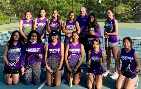 A photograph of the Chantilly Tennis team with Coach Patrick Condemi.