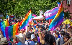 Flags wave at the D.C. Capital Pride Parade on June 10, 2017.