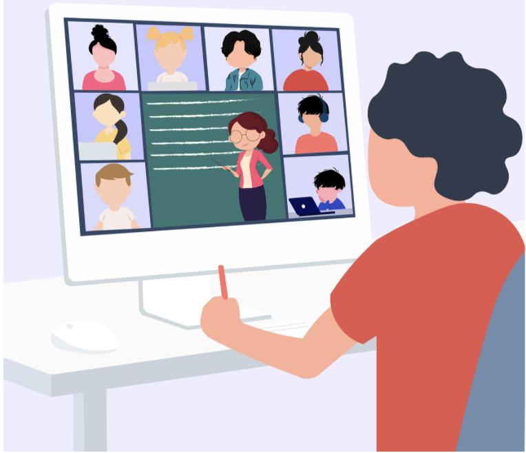 Students participate in school activities through a virtual platform.