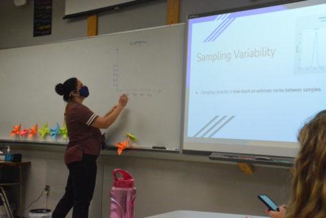 Math teacher Marwa Ali talks about sampling variability during her fifth period pre-calculus class.