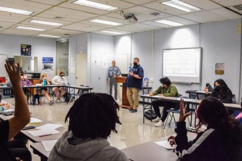 Criminal justice teacher Phillip Leger  teaches his fifth period class on Sept. 20.